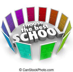 elegir, mejor, escuelas, coloreado, puertas, cima, colegio,...