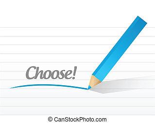 elegir, mensaje, ilustración, diseño