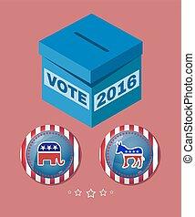 eleição, 2016, elefante, contra, burro, bandeira