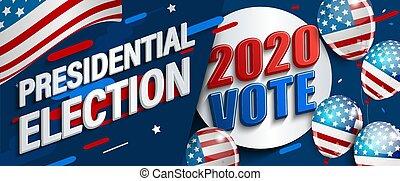 eleição, banner., 2020, eua, presidencial