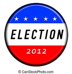 eleição, botão, emblema, 2012