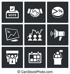 eleição, cobrança, ícones