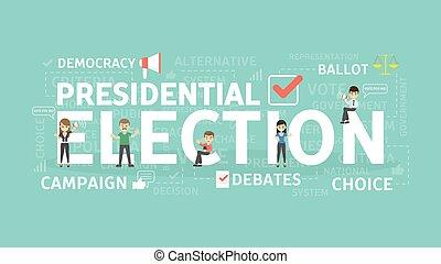 eleição, conceito, illustration.