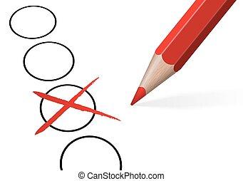 eleição, crucifixos, /, cheque, com, lápis colorido