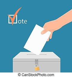 eleição, dia, conceito, vetorial, illustration., mão, pôr, votando, papel, em, a, voto, box.