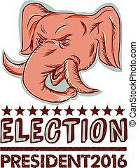 eleição, elefante, republicano, mascote, 2016, presidente