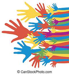 eleição, geral, votando, hands.