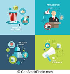 eleições, ícones, apartamento, decorativo, jogo
