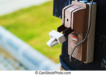 elektřina, (fuse, box), obvod, přerušovač