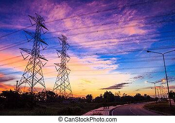 elektřina, silný napětí, mocnost pylon, v, soumrak