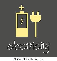 elektřina, znak, a, ikona, jednoduchý, prapor, eps10