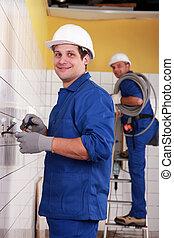 elektriciens, kamer, werkende , tiled