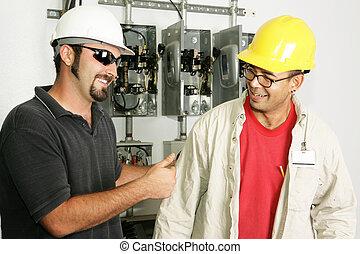 elektriciens, werken, -, goed