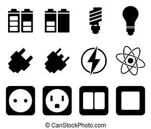 elektriciteit, energie, set, pictogram