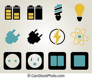 elektriciteit, energie, set, pictogram