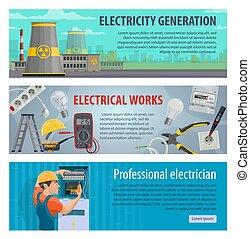 elektriciteit, energie, vector, banieren, macht