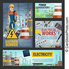 elektriciteit, generatie, elektrische mogendheid, dienst