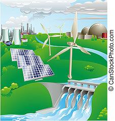 elektriciteit, generatie, macht, illustratie