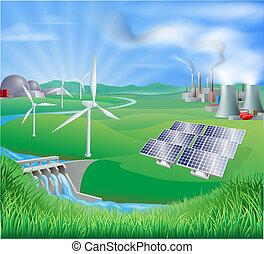 elektriciteit, generatie, of, macht, ontmoete