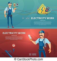 elektriciteit, horizontaal, werken, banieren, kleurrijke
