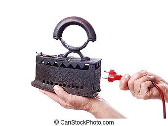 elektriciteit, oud, ijzer, kabel