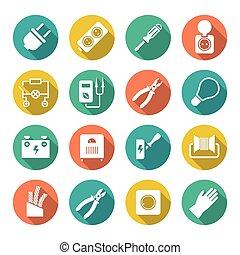 elektriciteit, plat, set, ronde, iconen