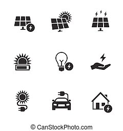elektriciteit, set, energie, pictogram