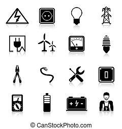 elektriciteit, set, iconen