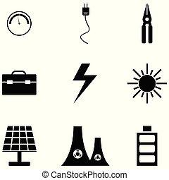 elektriciteit, set, pictogram