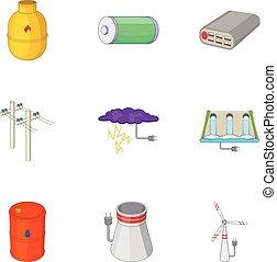 elektriciteit, set, stijl, spotprent, types