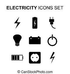 elektriciteit, set., vector, iconen
