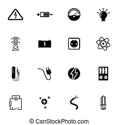 elektriciteit, vector, black , set, iconen