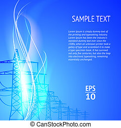 elektricitet, silhouett, ledningsstolpar