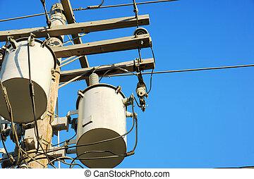 elektricitet, transformatorer, och, sky
