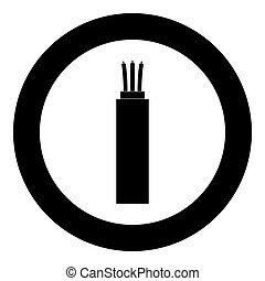 elektrický, kabel, ikona, čerň, barva, do, kruh