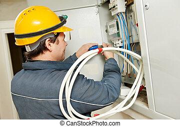 elektrikář, energie, spásonosný, zavést, měřič