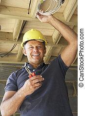 elektrik, arbejde på, wiring, ind, nyt hjem