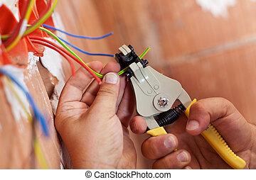 elektrik, skalle, off, tråde