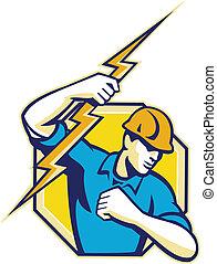 elektriker, anläggningsarbetare, retro