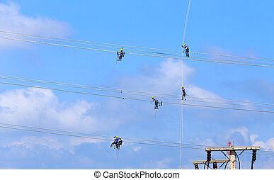 elektriker, arbeit, arbeiter, hochspannung, hochklettern,...