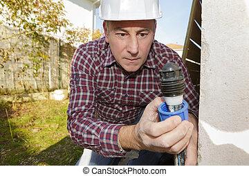 elektriker, byggmästare, ingenjör, arbetare, testning, elektronik