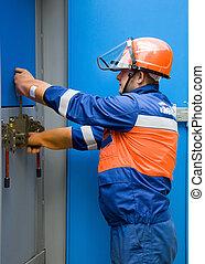 elektriker, caucasian, arbete, panel