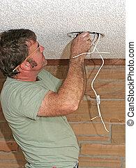 elektriker, drähte, verbinden