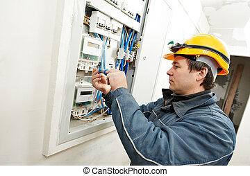 elektriker, energie, einsparung, installieren, meter