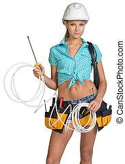 elektriker h bsch kabel kurze hosen m nnerhemd stockfoto fotografien und clipart. Black Bedroom Furniture Sets. Home Design Ideas