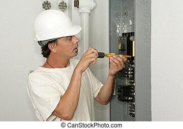 elektriker, installera, bränning