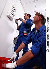 elektriker, installera, strömbrytare