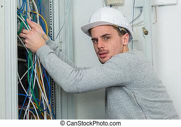 elektriker, kabel, organisieren