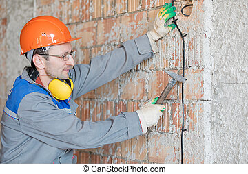 elektriker, kabel, wand, haus, arbeiter, installieren, elektrisch, mann