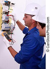 elektriker, messen, strömung